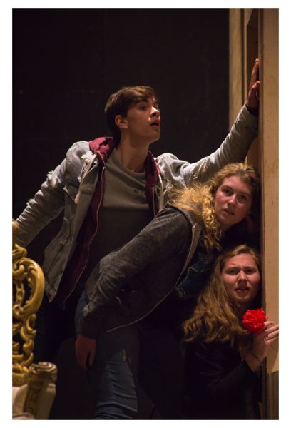 PHOTO COURTESY OF BROOK HRYCIW  - Barlow students Ben Kalinkin (top), Sage Dupuis (middle) and Lexi Cheney (bottom) rehearse for Lend Me a Tenor. The play runs April 19-22, in the schools main auditorium.