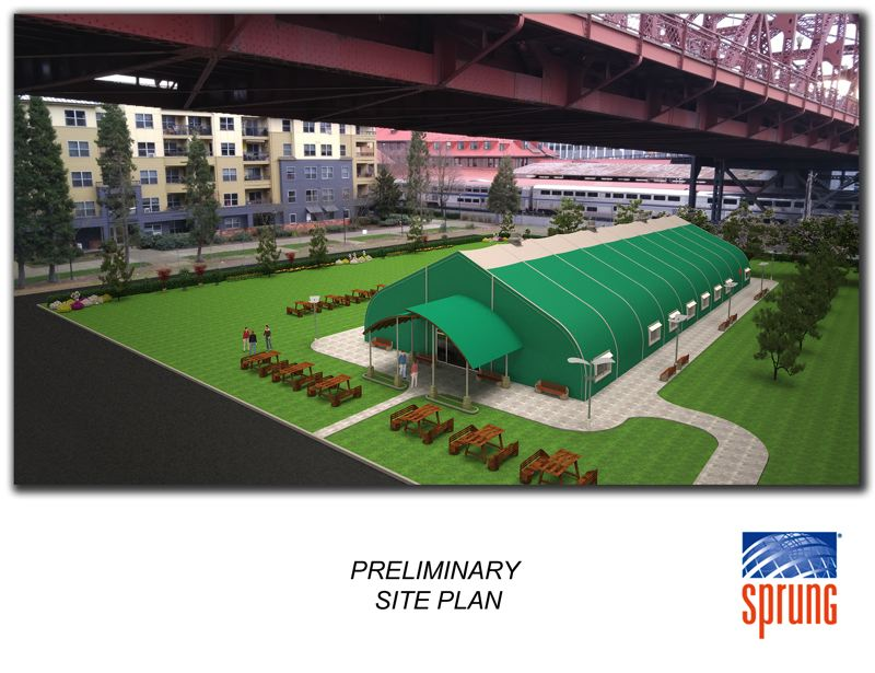 COURTESY OF OREGON HARBOR OF HOPE - An artist's rendering of a new navigation center for homeless people funded with $1.5 million from Columbia Sportswear donated through the nonprofit Oregon Harbor of Hope. The center is not slated to be beneath the Broadway Bridge as pictured, but will be near it.