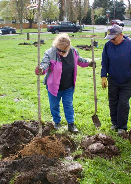 OUTLOOK PHOTO: CHRISTOPHER KEIZUR - Volunteers at Gradin Community Sports Park planted 15 fall trees.