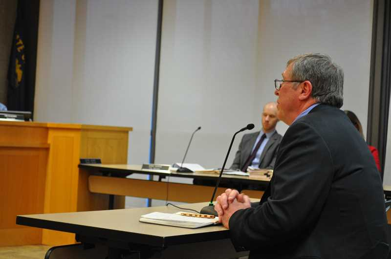PHOTO: BLAIR STENVICK - Oregon State Rep. Richard Vial, whose district includes Sherwood, speaks in favor of the city expanding its Urban Growth Boundary in a Monday, April 9 Sherwood City Council special meeting.