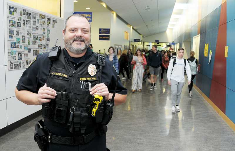 GARY ALLEN - Jeff Moreland, a veteran of a dozen years at the Newberg-Dundee Police Department and 19 years in law enforcement, has been the school resource officer at Newberg High School for sevenyears. He says he
