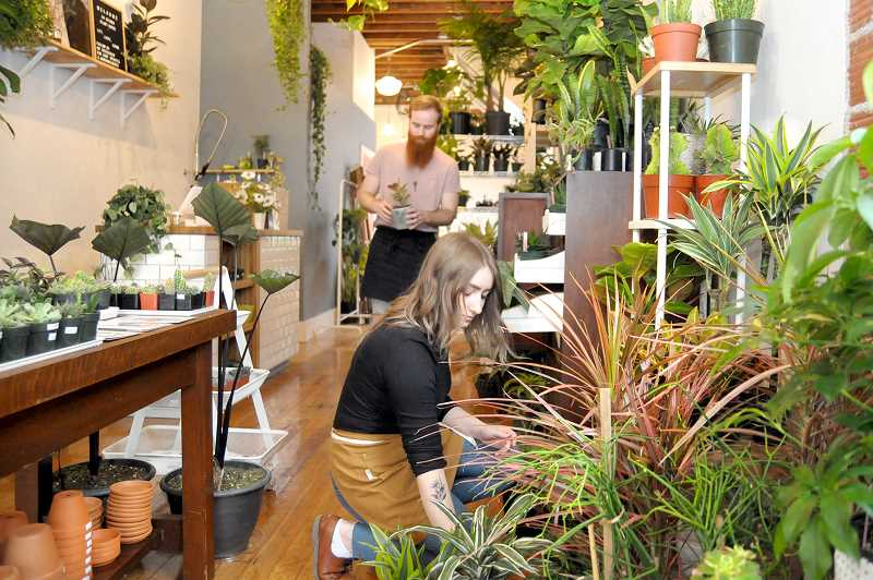 GARY ALLEN - Josi and Taylor Hickernell, co-owners of Uflora, prepare the College Street shop for First Friday Artwalk last week.