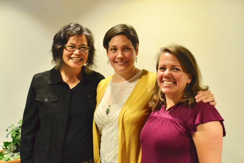 POST PHOTO: BRITTANY ALLEN - Aurora del Val (D-Cascade Locks) who was running against Rep. Jeff Helfrich (R-Hood River), and Anna Williams (D-Hood River) for the position as House District 52 representative shocked the audience by announcing she was stepping down from her campaign to support Williams.