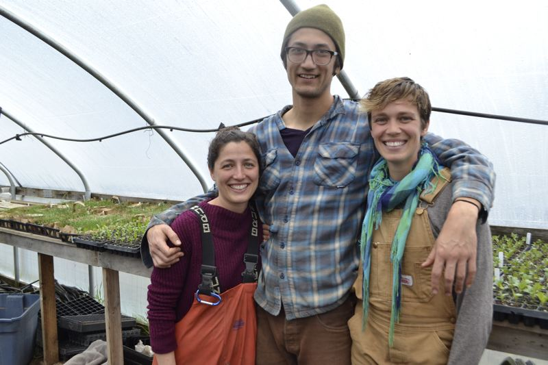POST PHOTO: BRITTANY ALLEN - Jennie London, Spencer Suffling and Brindley Beckwith have been running their CSA for three years and now operate out of a farm in Corbett.