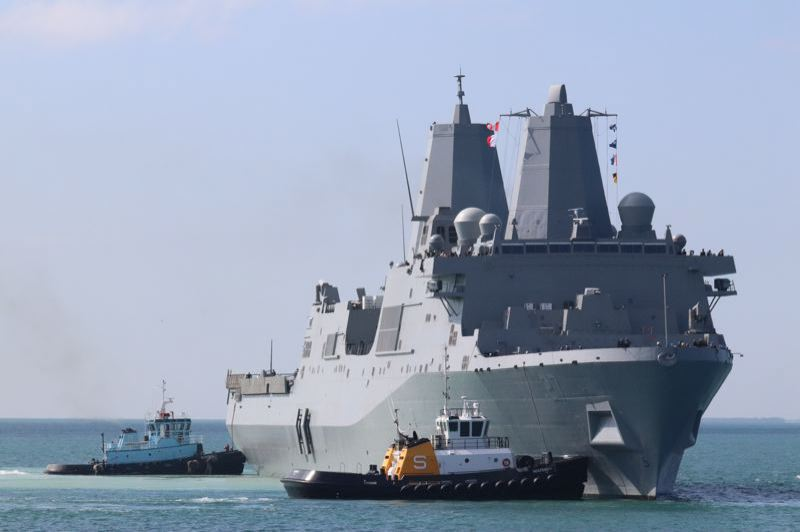 CONTRIBUTED - Peter and Eileen Colwill sent this picture of the USS Portland arriving in Key West, Florida, on its way to its home base in San Diego, California.