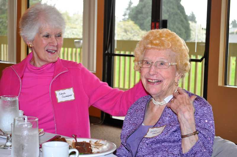 Dottie Alsman, right, enjoys lunch with her friends. She will turn 99 this golf season, and is still hitting the links.
