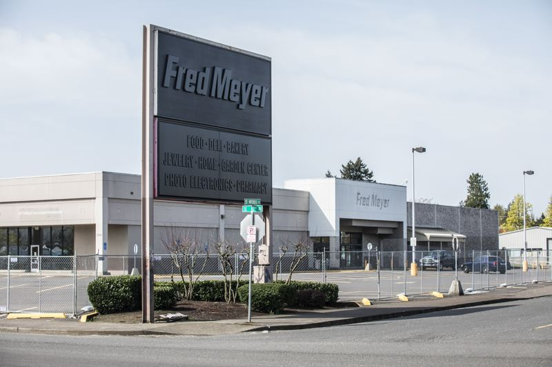 TRIBUNE PHOTO: JONATHAN HOUSE - The sign has been removed from the closed Fred Meyer along 82nd Avenue.