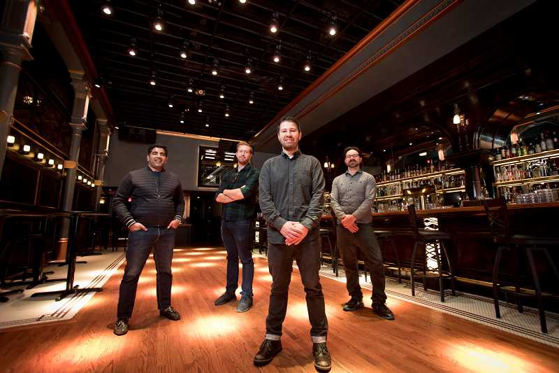 REVIEW PHOTO: JAIME VALDEZ - From left: Nitin Khanna, Billy Vinton, Rick Sheinin and Jessey Zepeda are the four partners behind the emergence of No Vacancy, a new type of club and venue experience these four innovators are hoping raises the bar in Portland nightlife.