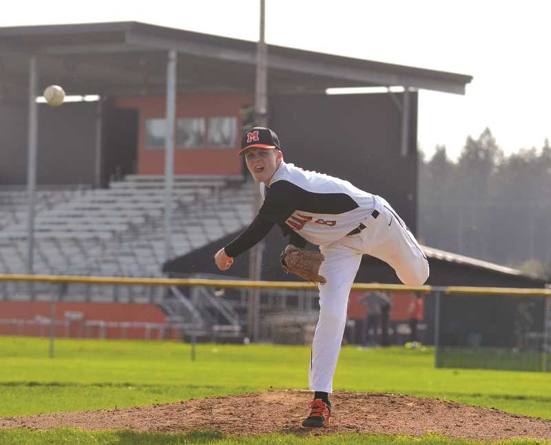 PIONEER PHOTO: TANNER RUSS - Starting pitcher Jacob Nix had a rough day on the mound, hitter several batters and seeing six runs given up. The Pioneers fell to the visiting White Buffalo 13-3 on Monday, April 9.