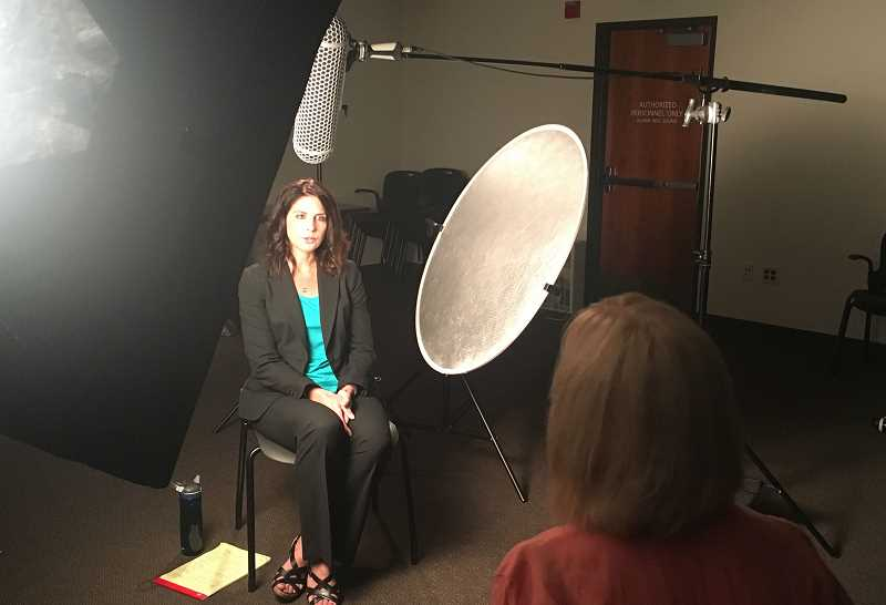 SUBMITTED PHOTO: CLACKAMAS COUNTY SHERIFFS OFFICE - Senior Assistant Attorney General Erin Greenwald takes part in an interview for the domestic violence training video produced by the Clackamas County Sheriffs Office.