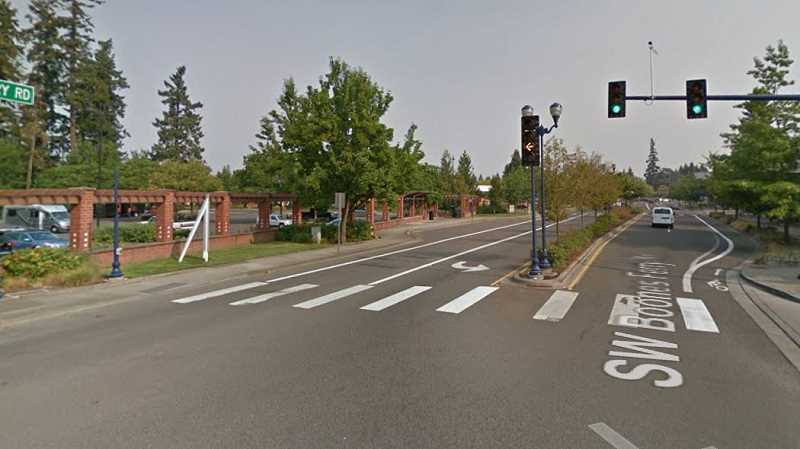IMAGE BY GOOGLE MAPS - Wilsonville will move the northbound turn signal from Boones Ferry Road to the Starbucks parking lot in Old Town Square to the overhead signal pole.
