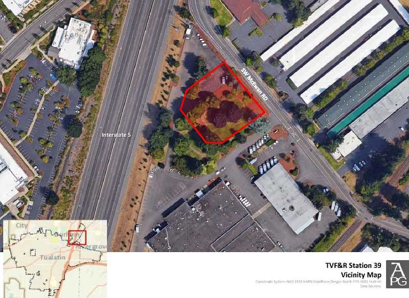 PHOTO COURTESY OF THE CITY OF TUALATIN - A map prepared for the City of Tualatin shows the location of Tualatin Valley Fire & Rescue's new Station 39, which will be located adjacent to a U-haul depot and across the street from a public storage facility.