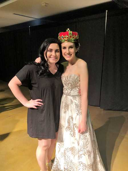 COURTESY: PAIGE CUSHING - Cushing poses with her fundraising partner, Lexi Gribble, after being crowned winner of the Bowmen Pageant.