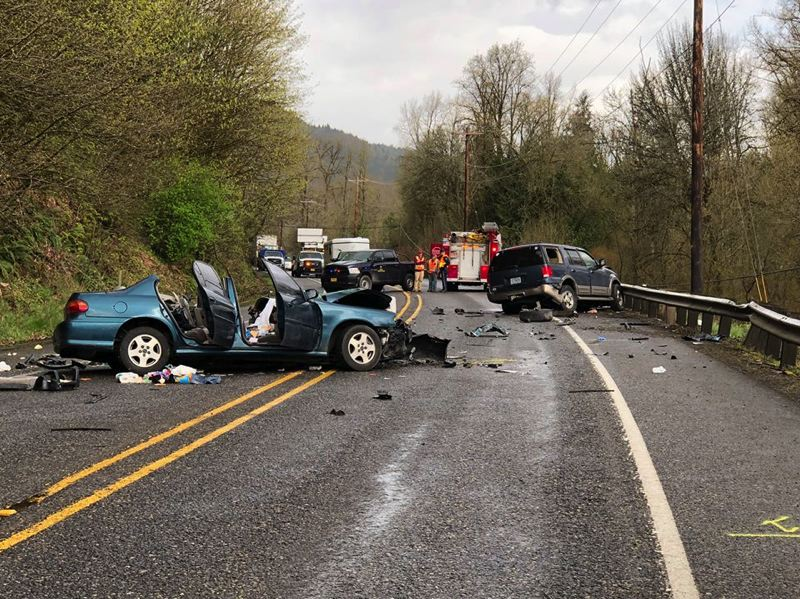 PHOTO COURTESY OF COLUMBIA RIVER FIRE AND RESCUE - On Saturday, April 7, a two-vehicle crash at Neer City Road and Highway 30 sent four people to the hospital and left the road closed while emergency crews were on scene. The family is still searching for their dog, Thor, who went missing after the crash.