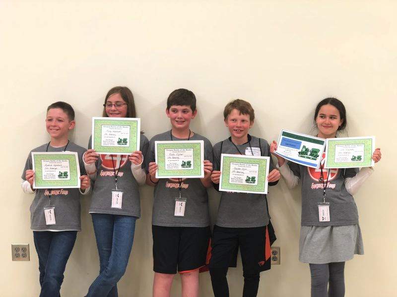PHOTO COURTESY OF TAMA FISHER - A team of fifth-grade students from Otto Petersen Elementary School took fourth place at the Oregon Battle of the Books state competition Saturday, April 7. Pictured from left to right are Maverick Heimbuck, Molly Heimbuck, Kade Fisher, Quinton Olson and Cate Kinsman
