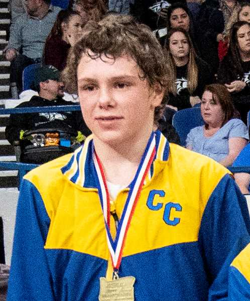CENTRAL OREGONIAN FILE PHOTO - Hunter Mode placed second in the 18U 113-pound weight class last weekend in Reno.