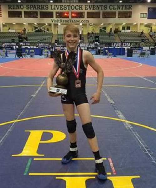 PHOTO COURTESY OF LANCE LAVEY  - Landon Lavey took third in the 10U 80-pound weight class in Reno.
