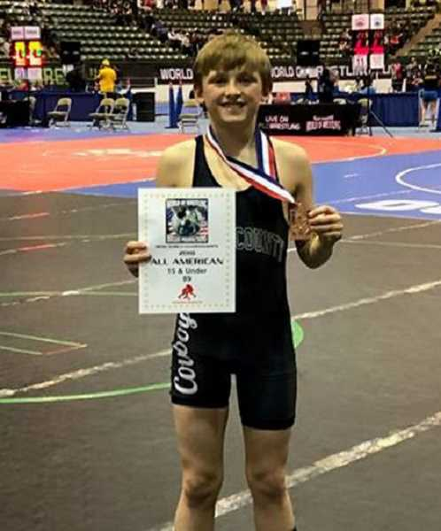 PHOTO COURTESY OF LANCE LAVEY  - Tucker Bonner placed sixth in the 15U 89-pound weight class at Reno.