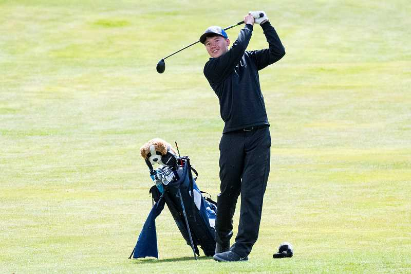 LON AUSTIN/CENTRAL OREGONIAN - Hogan Smith was one of three Crook County golfers to score in the 90s at Monday's golf tournament, which was held at Bend Golf Club.