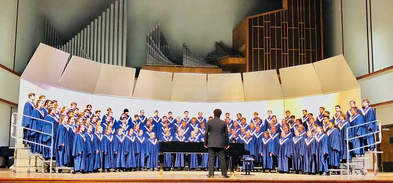 SUBMITTED PHOTO - Canby High School's Concert Choir sang their way to the title of 2018 Three Rivers League Champions on Wednesday, April 11. With the win, they advance to the OSAA Music State Championship in May.