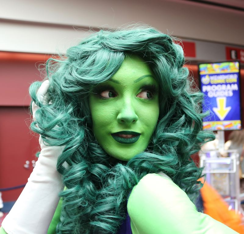 TRIBUNE PHOTO: ZANE SPARLING - Aurel BockNelson of Portland poses for a photo on Saturday, April 14 at the Wizard World Comic Con in Portland. The 25-year-old is dressed as the She-Hulk.