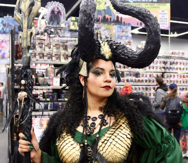 TRIBUNE PHOTO: ZANE SPARLING - Erin Cahill, a resident of Corvallis, poses for a photo at the Wizard World Comic Con on Saturday, April 14 in Portland. The 27-year-old is dressed as Lady Loki.
