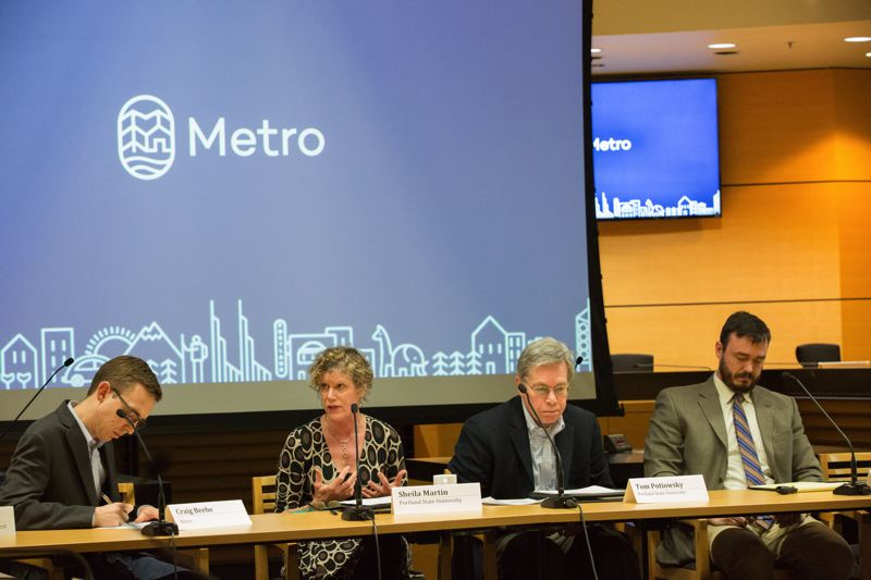 PHOTO: JOSHUA MANUS, METRO - Economists at Metro's Council Chambers Wednesday 11 April, 2018 (L-R) Craig Beebe, project Manager Metro (moderator); Sheila Martin, director, Portland State University Institute of Portland Metropolitan Studies; Tom Potiowsky, director, PSU Northwest Economic Research Center and Bill Reid, principal, PNW Economics.