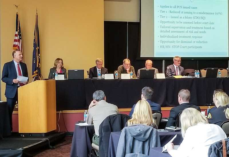 REVIEW PHOTO: ANTHONY MACUK - Multnomah County District Attorney Rod Underhill discussed the countys 'Treatment First' approach, which evaluates offenders and works on providing personalized treatment resources.