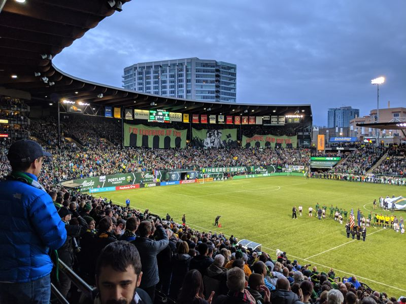 PAMPLIN MEDIA GROUP: JOSEPH GALLIVAN - Timbers Army first tifo of the season