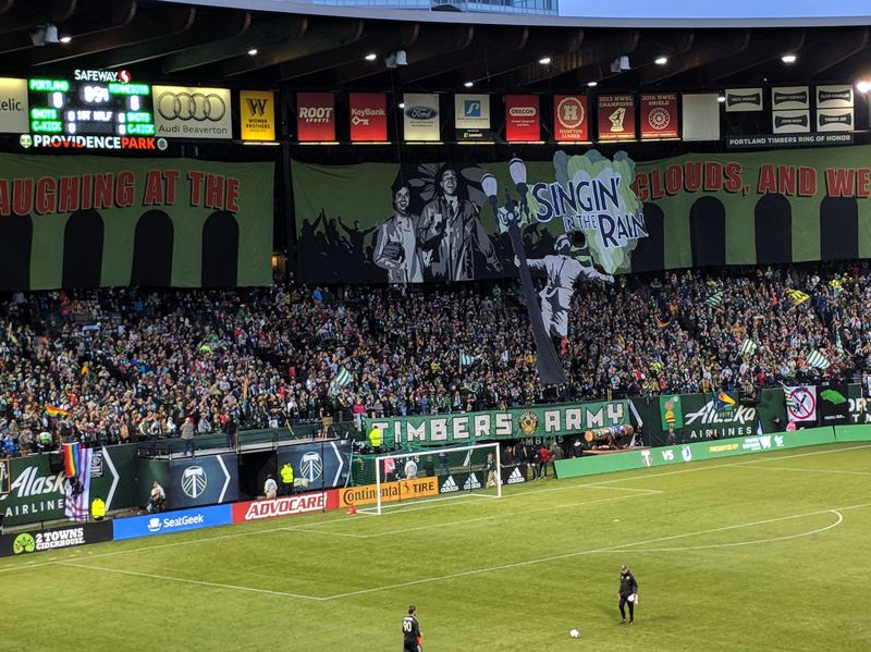 PAMPLIN MEDIA GROUP: JOSEPH GALLIVAN - Timbers Army first tifo of the season referenced the rain.