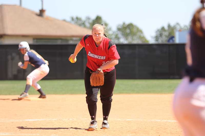COURTESY PHOTO - Harms was named the Liberty Leagues Pitcher of the Week for her work from the mound.