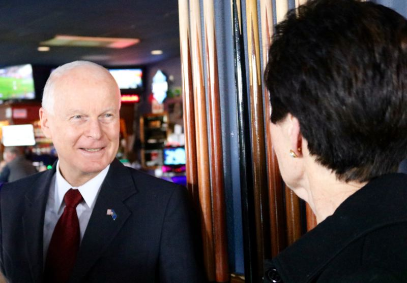 OUTLOOK PHOTO: ZANE SPARLING - Secretary of State Dennis Richardson promised transparent and secure elections during a meeting with business leaders at Skyland Pub.