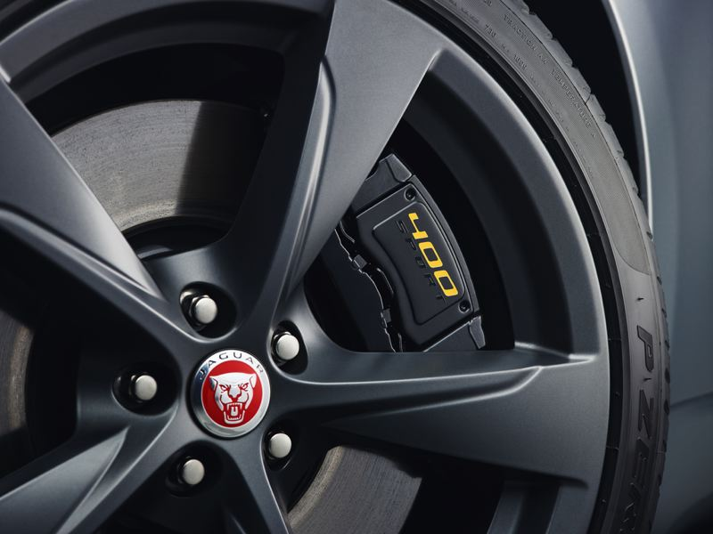 COURTESY JAGUAR - The big brakes on the 2018 Jaguar F-Type 400 Sport look and work great.