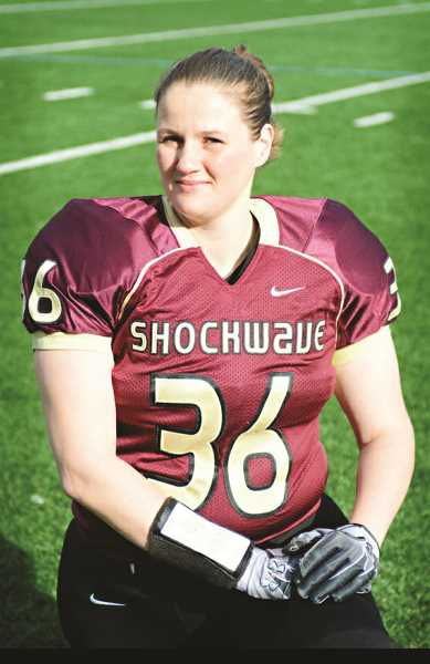 COURTESY PHOTO - Melodie Abrook, originally from New York, is a tight end and defensive end for the Portland Fighting Shockwave, an all-female football team. The team is 2-0 so far in the season.
