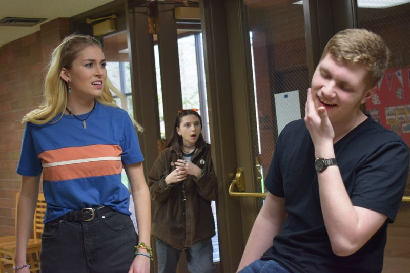 PHOTO COURTESY: LISA DANIELS - La Salle Prep students Amanda Acker, Emma Kuffner and Luke Thompson rehearse a scene from the high school's spring musical at 11999 S.E. Fuller Road, unincorporated Milwaukie. La Salle Prep will stage 'Legally Blonde: The Musical' on April 20-22 and 26-28. Tickets at lsprep.org/legallyblonde.