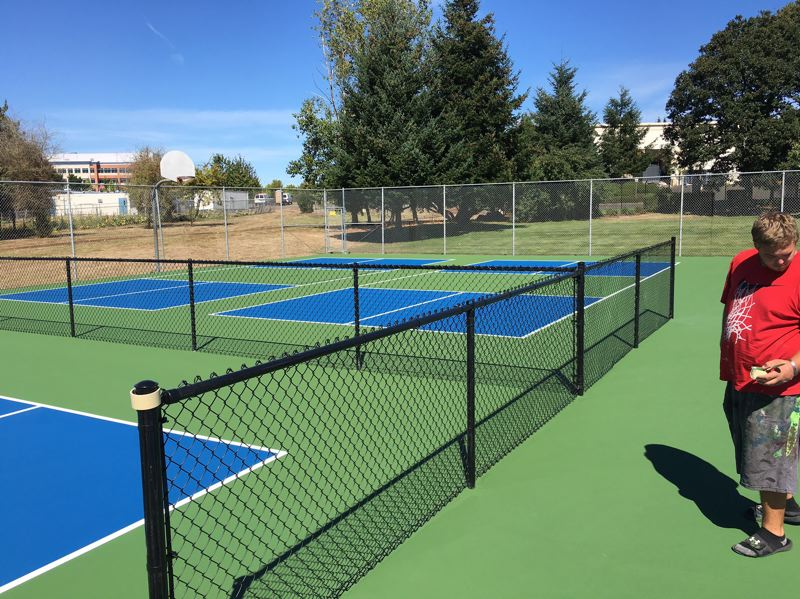 SUBMITTED PHOTO - Pickleball USA Association members have been renovating thousands of tennis courts across the country, including this one in Oregon City's Hillendale Park.