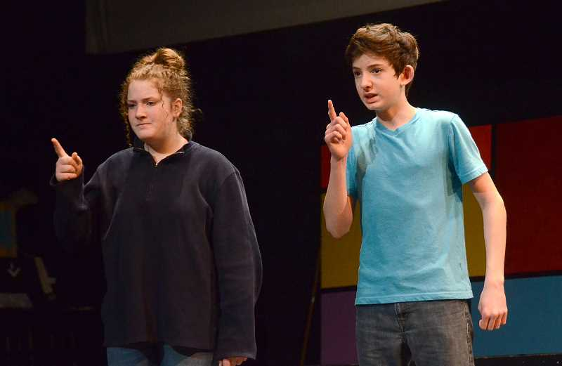 SPOKESMAN PHOTO: VERN UYETAKE - Lily Saunders and Cian Lister practice a scene as Mr. and Mrs. MacAfee.