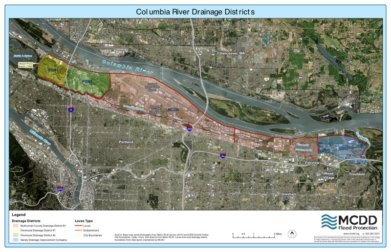 COURTESY LEVEE READY COLUMBIA - The colored areas are the four drainage taxing districts in the Columbia River floodplain that primarily fund the flood-control system.