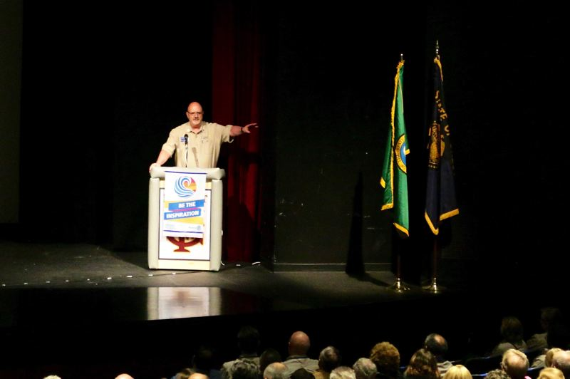 COURTESY PHOTO: JIM MORRIS - Larry Hatch of the Forest Grove Daybreak Rotary Club, incoming Rotary District 5100 governor, speaks at the district training assembly Saturday, April 14.