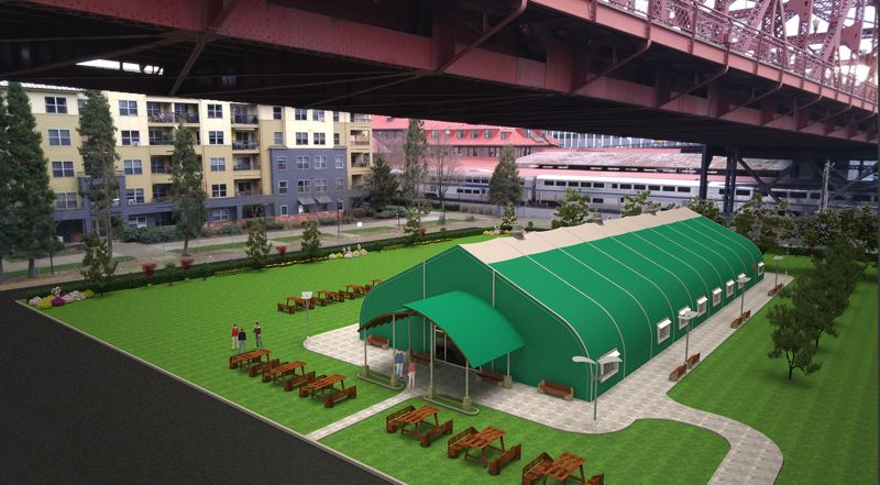 COURTESY OHOH - Harbor of Hope proposes to use an insulated fabric structure to house the navigation center, which will be used to refer homeless clients to appropriate services.