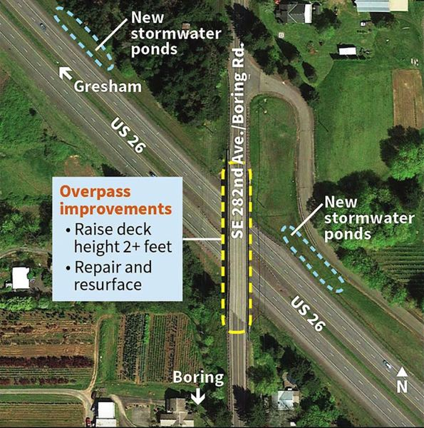 CONTRIBUTED PHOTO: OREGON DEPARTMENT OF TRANSPORTATION - Besides paving Highway 212, ODOT will raise and repair the overpass at Highway 26 in the coming year. This work will require an extended closure of Southeast 282nd Avenue/Boring Road in 2018.