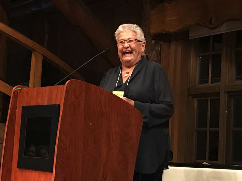CONTRIBUTED PHOTO: MARGARET RICE - Famed journalist Sharon Nesbit accepts a 2018 Oregon Heritage Excellence Award during a ceremony on Thursday, April 12 in Bend.