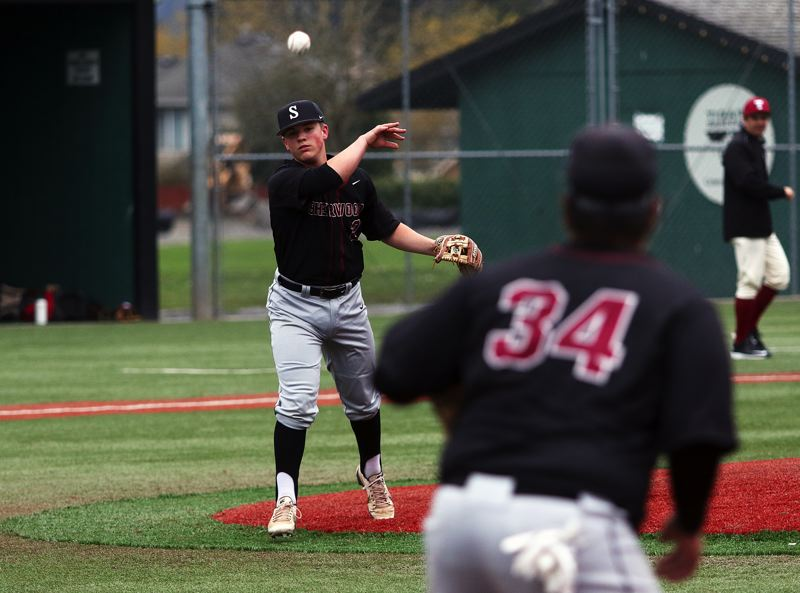 TIMES PHOTO: DAN BROOD - Sherwood senior pitcher Jacob Matzat makes a throw to first base during the Bowmen's game with Tualatin in Saturday.