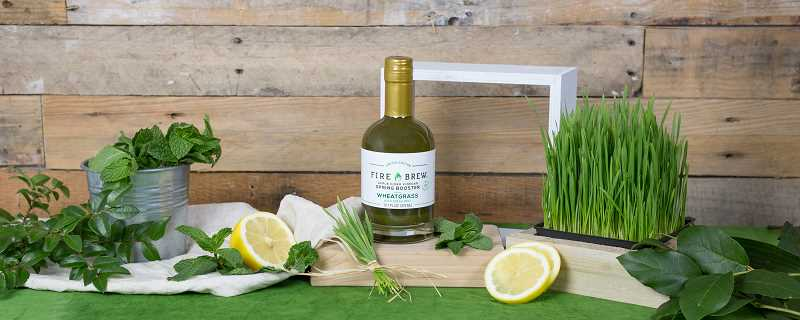 SUBMITTED PHOTOS  - Fire Brews newest release is Wheatgrass with Fresh Mint Spring Boost. The benefits of wheatgrass include chlorophyll to detoxify and antioxidants to heal free radical damage, and enzymes to aid digestion.