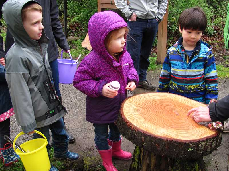 SUBMITTED PHOTO: PAUL LYONS - Discovery Buckets in hand, youngsters learn about how trees grow during a Preschool Nature Walk last week in Springbrook Park.