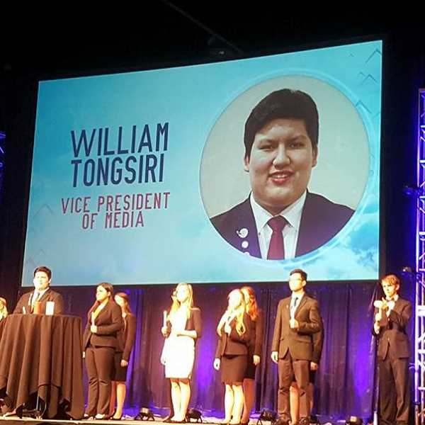 SUBMITTED PHOTO: CORRI ELLIS - William Tongsiri was elected as the State Vice President of Media for 2018-2019.