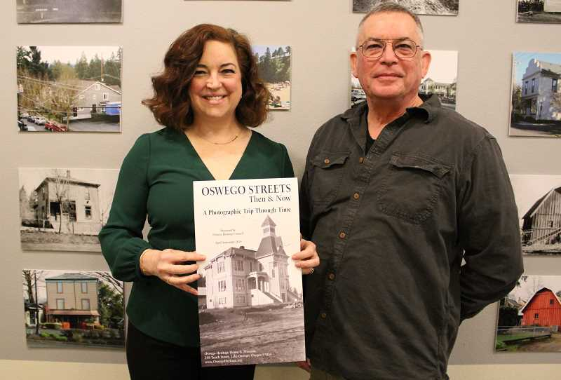 REVIEW PHOTO: SAM STITES - Oswego Heritage Council Executive Director Nancy Niland and board member Mark Browne say visitors to the Oswego Heritage House museum will take a photographic trip through time in 'Oswego Streets Then & Now.'