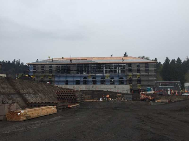 PHOTO COURTESY OF MARYS WOODS - Crews have been working on the roof of the Dunn Community Center building, which is expected to be completed in November of this year.