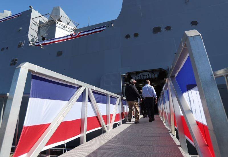 PAMPLIN MEDIA GROUP: JAIME VALDEZ - Crew members prepared the USS Portland for Saturday morning's commissioning ceremony Thursday, April 19, during a press tour of the massive vessel at the Port of Portland's Terminal 2.