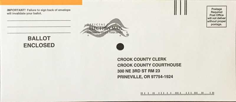 PHOTO SUBMITTED BY CHERYL SEELY - Crook County will provide a white envelope with an orange stripe instead of a goldenrod envelope.
